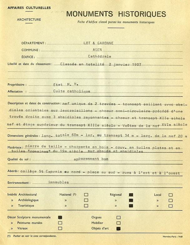 Exemple de document géré par la DRAC Aquitaine. Cathédrale Saint-Caprais d'Agen (47), fiche d'édifice classé parmi les monuments historiques [1968].