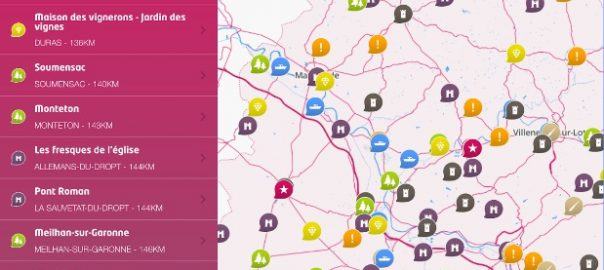 Capture écran de la cartographie proposée par Visit 47, Crédits GMT édition et CD 47, 2014.